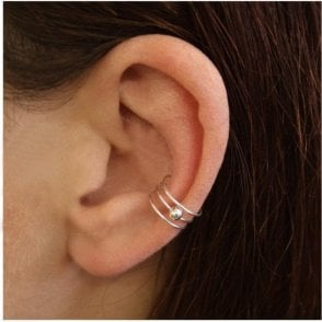 3 Band and Ball Ear Cuff