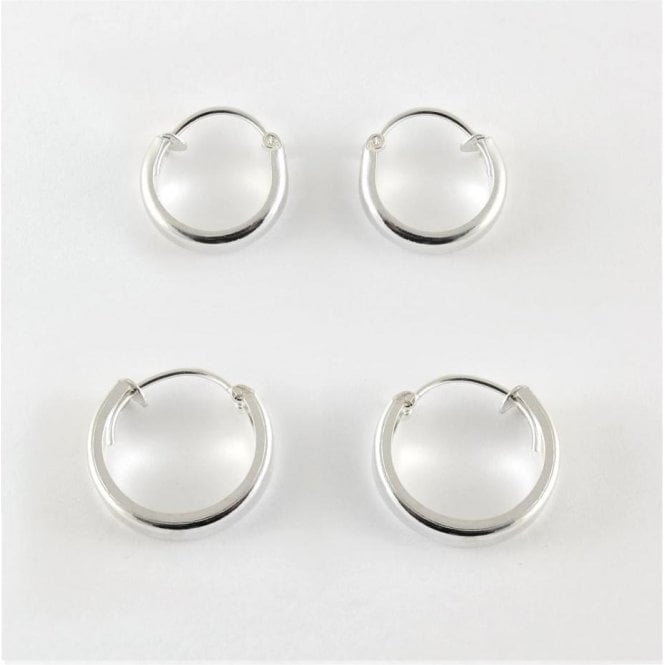 3mm Rounded Hoop Earrings 10 - 14mm