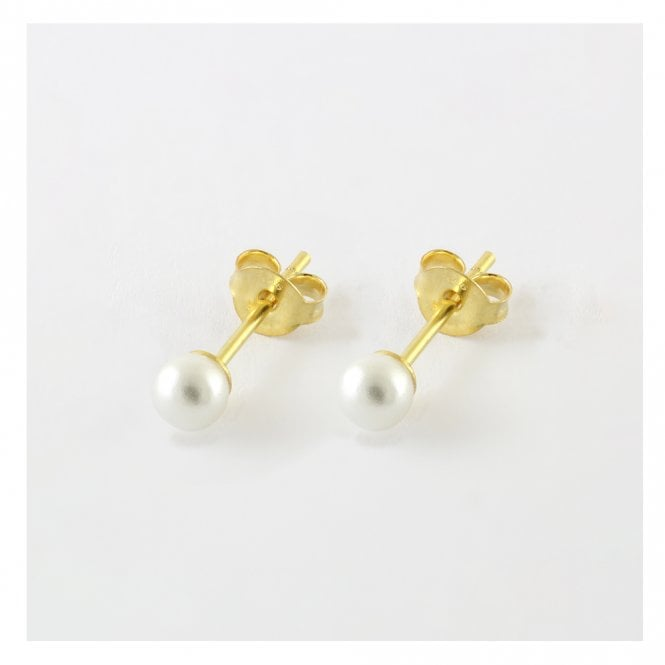 4mm Pearl Gold Studs