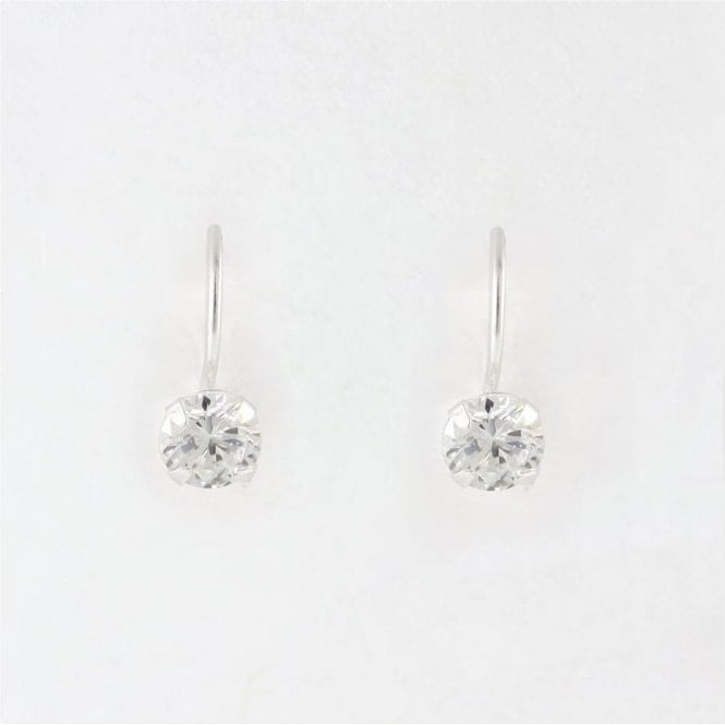 5mm CZ Round Drop Earrings