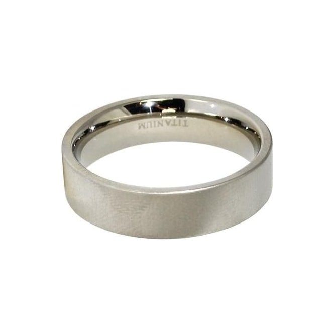 6mm Plain Flat Band Titanium Ring