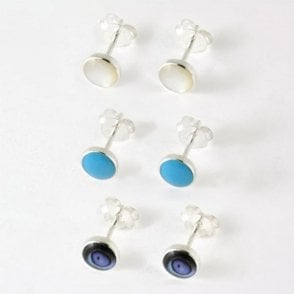 6mm Round Stud with Semi Precious Stone