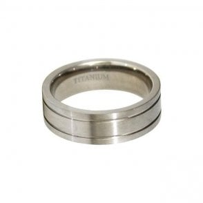 7mm Flat Double Halo Titanium Ring