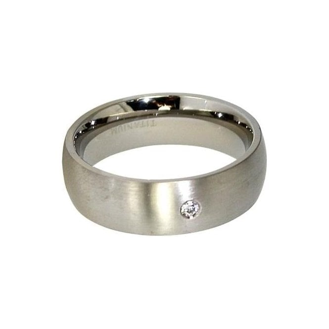 7mm Gem Set Band Titanium Ring