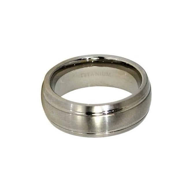 7mm Rounded Double Halo Titanium Ring