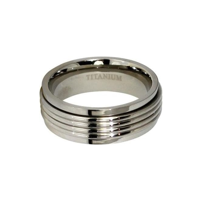8mm Ribbed Band Titanium Ring