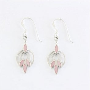 Art Deco Pink Shell Earrings