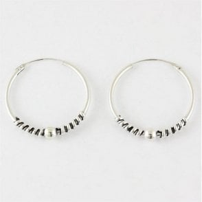 Bali Twist and Ball Hoop Earrings -25mm