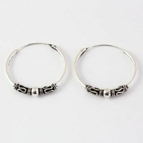 Bali Weave and Ball Hoop Earrings -18mm