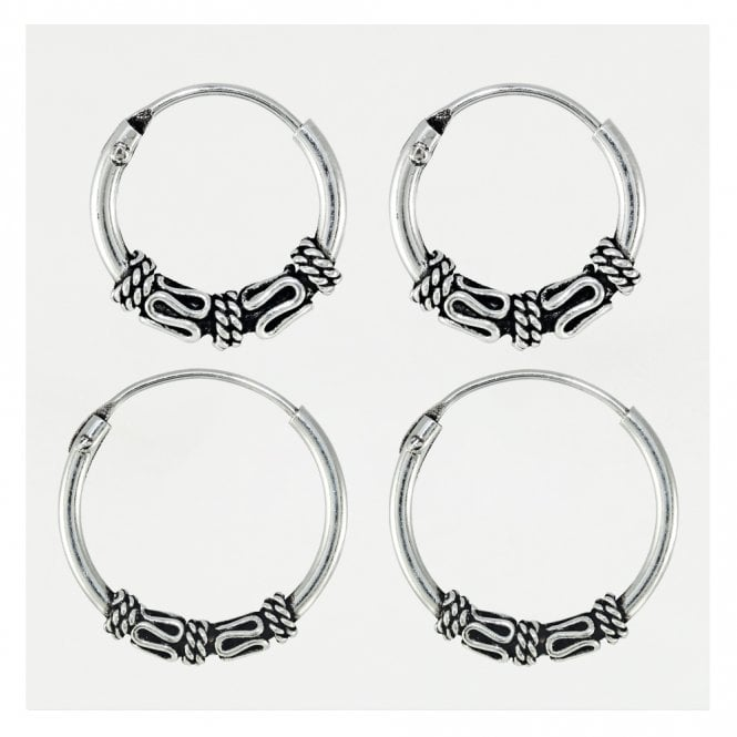 Balinese Style Hoop Earrings 10 & 14mm