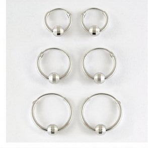 BCR Sparkly Hoop Earring 10 - 14mm