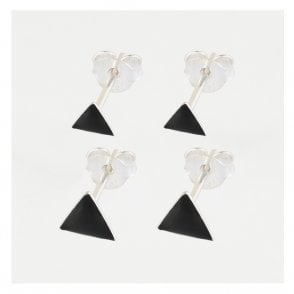 Black Triangle Ear Stud