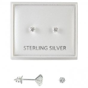 Boxed Clear 3mm CZ Round Studs