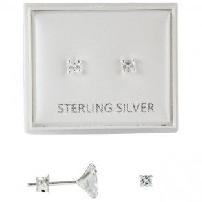 Boxed Clear 3mm CZ Square Studs