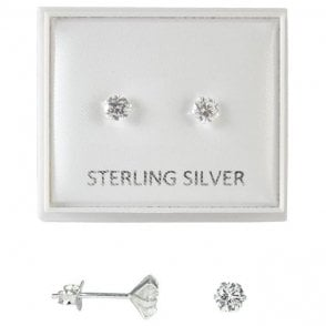 Boxed Clear 4mm CZ Round Studs