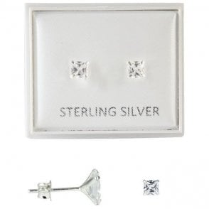 Boxed Clear 4mm CZ Square Studs