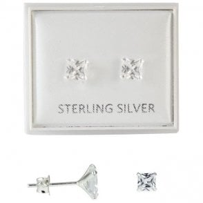 Boxed Clear 5mm CZ Square Studs