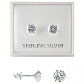 Boxed Clear 6mm CZ Round Studs