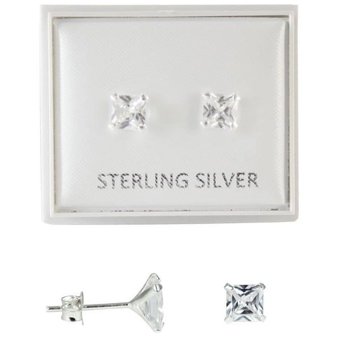 Boxed Clear 6mm CZ Square Studs