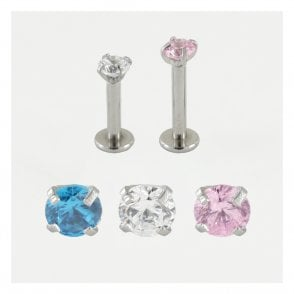 Claw set Jewelled Internally Threaded Labret 1.2mm