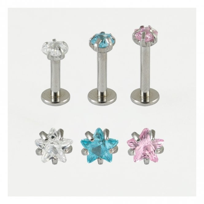 Claw Set Star Jewelled Internally Threaded Labret
