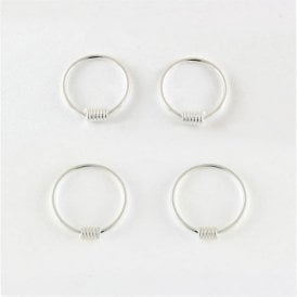 Coil Hoop Earrings 10 - 14mm
