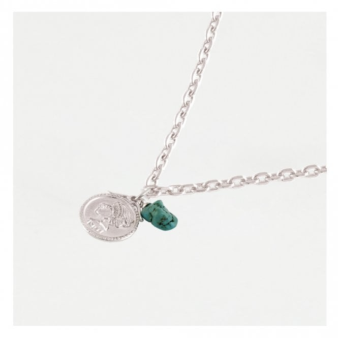 Coin & Turquoise Necklace