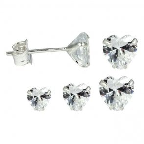 Cubic Zirconia Claw Set Heart Ear Stud 3 - 6mm