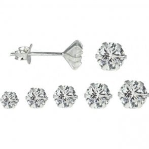 Cubic Zirconia Claw Set Round Ear Stud 1.5 - 6mm