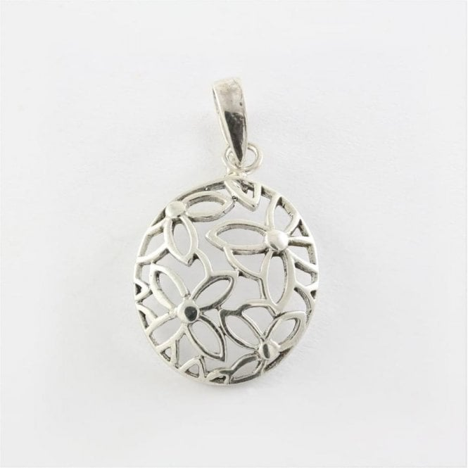 Cut Out Flowers Oval Pendant