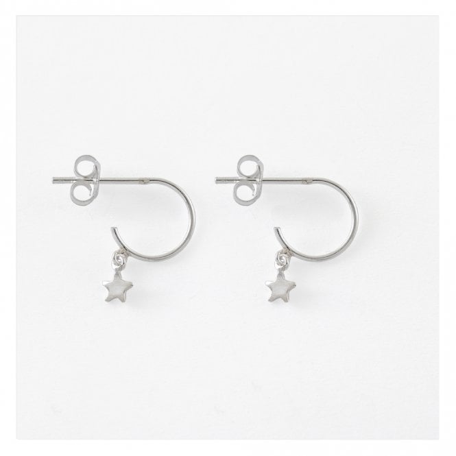 Dangle Star Half Hoop Earrings