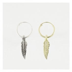 Dangly Feather Hoop Earrings