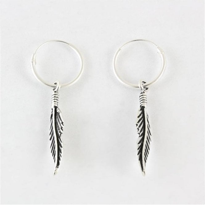 Dangly Quill Feather Hoop Earrings
