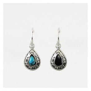 Dangly Stone Set Teardrop Hoop Earrings