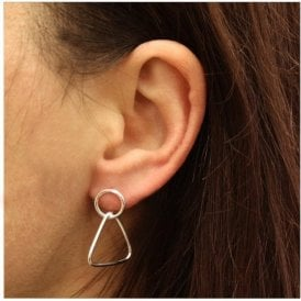 Dangly Triangle and Circle Stud
