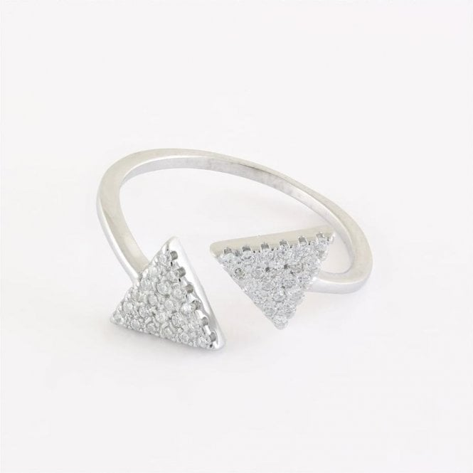 Double Gem Set Triangle Ring