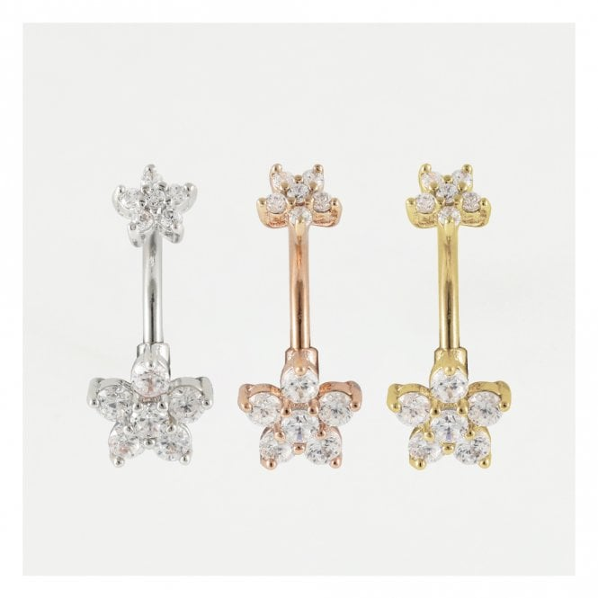 Double Gemset Flower Belly Bar