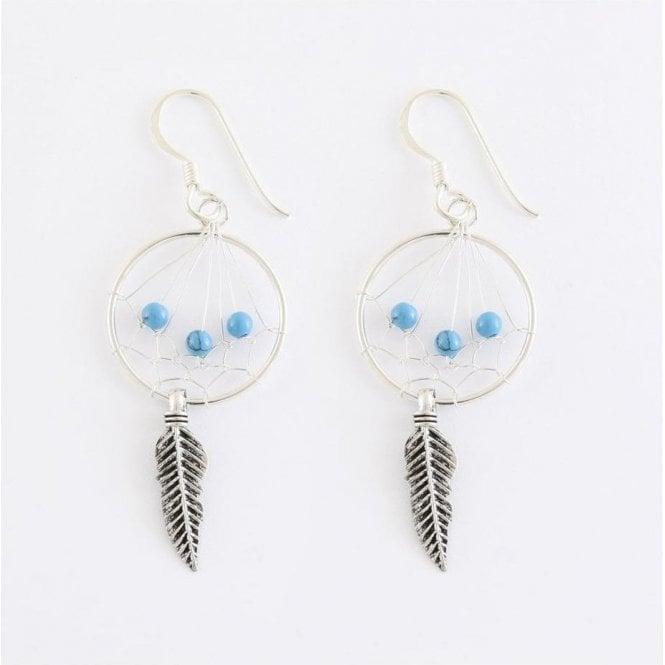 Dream Catcher Earrings Set with Turquoise