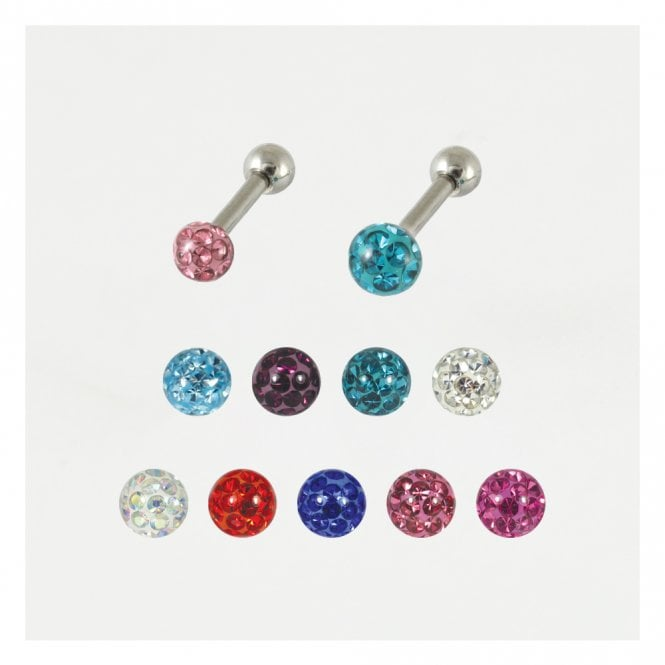 Ear Bar with Smooth Glitzy Disco Ball
