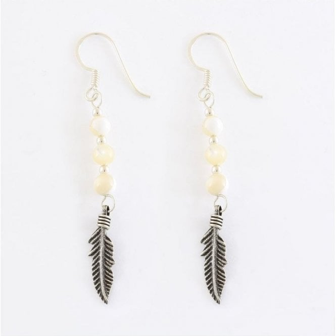 Feather & Cat Eye Earrings