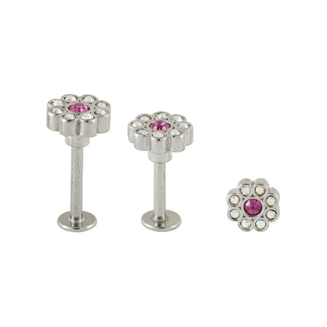 Gem Set Daisy Flower Labret