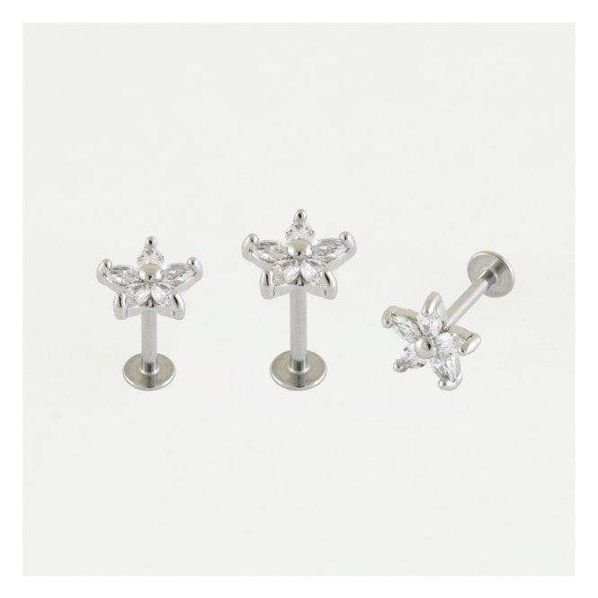 Gem Set Marquis Flower Labret