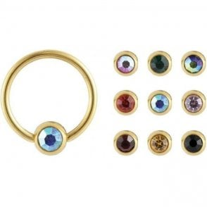 Gem Set Nipple Ring