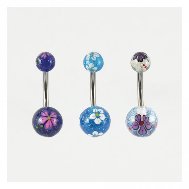 Glittery Flower Belly Bar