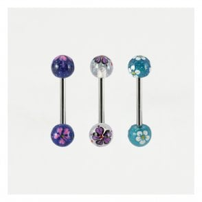 Glittery Flower Straight Barbell