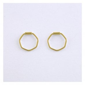 Gold 12mm Hexagon Hoops