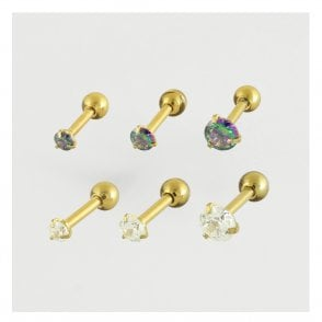 Gold Clawset Jewelled Ear Bar