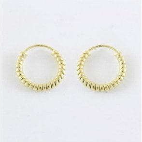 Gold Coil Hoop Earrings - 14mm