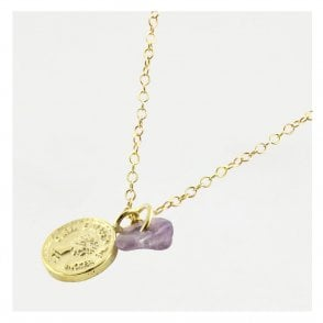 Gold Coin & Amethyst Anklet