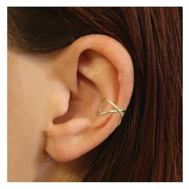 Gold Crossover Band Ear Cuff